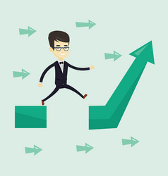 business man jumping over gap on arrow going up vector image
