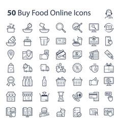 Buy food online icons vector