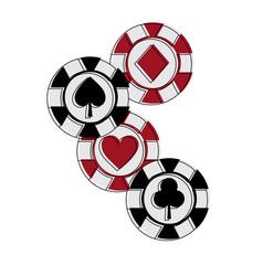 casino chips club heart spade and diamond gamble vector image