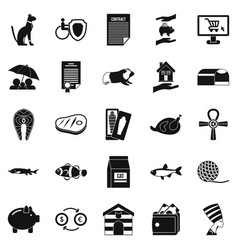 cat icons set simple style vector image