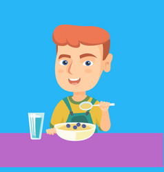 caucasian boy eating porridge for breakfast vector image