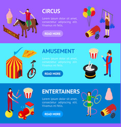 Circus amusement and attraction banner horizontal vector