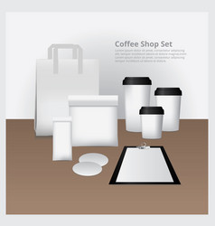 coffee shop set mock up vector image vector image