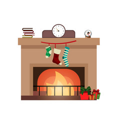 colorful fireplace icon isolated in cartoon flat vector image