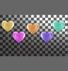 colorful heart balloons collection vector image