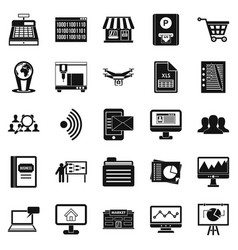 Contactless payment icons set simple style vector