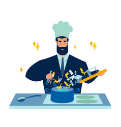 cook businessman prepares business recipe from vector image