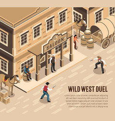 Cowboys duel isometric vector