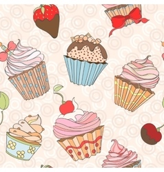 Cupcakes colorful seamless pattern vector image