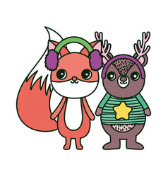 cute bear and fox with ear muffs merry christmas vector image