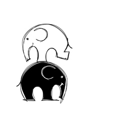 Cute elephants sketch for your design vector