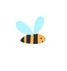 cute flying bee isolated element wasp character vector image