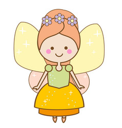Cute kawaii fairy character winged pixie princess vector