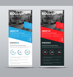 Design of roll-up banners with diagonal red and vector