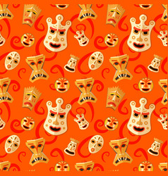 different wooden voodoo masks on red background vector image