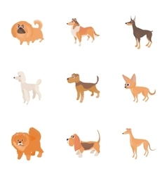 Dog icons set cartoon style vector