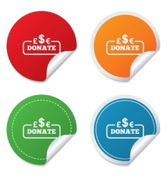 Donate sign icon Multicurrency symbol vector