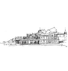 Drawing sketch ferry dock in buyukada vector