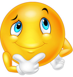 Emoticon happy face are thinking and posing vector