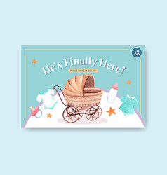 facebook template with baby shower design concept vector image