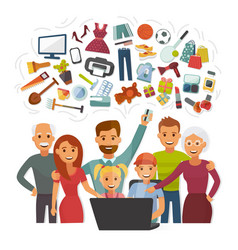 Family with credit card shopping online happy vector