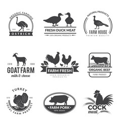 farm animals logo cow sheep goat symbols vector image