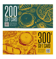 Fast food restaurant gift card set vector