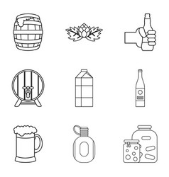 Fermentation icons set outline style vector