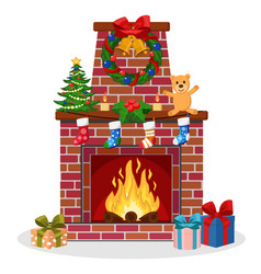 fireplace of brick decorated with socks christmas vector image