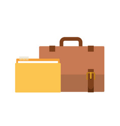 Folder with suitcase in white background vector
