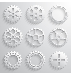Gear wheels icon set Nine 3d gears on a light gray vector image vector image