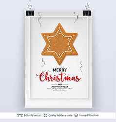 Gingerbread star cookie and text on light banner vector