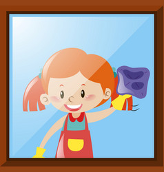 Girl cleaning window with cloth vector