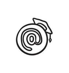 Graduation cap with at sign sketch icon vector