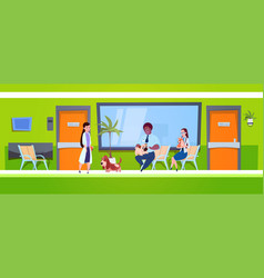 group people with dogs sitting in waiting room vector image