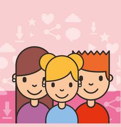 group teenagers people social media background vector image