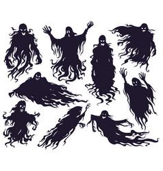 halloween evil spirit silhouette scary nightmare vector image