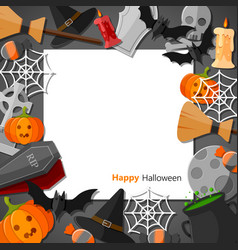 halloween flat halloween icons with square frame vector image