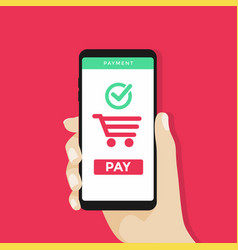 hand holding mobile phone with shopping cart vector image