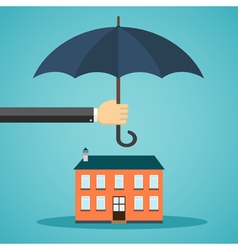Hand holding umbrella over a house vector