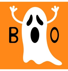 Happy Halloween Funny flying ghost with hands Boo vector