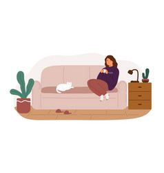 happy woman sitting on couch holding cup hot vector image