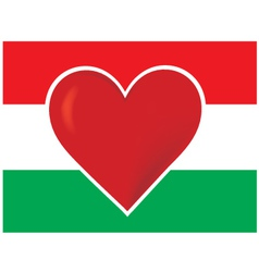 heart hungary flag vector image