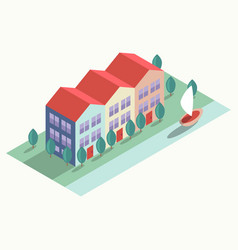 houses and embankment vector image