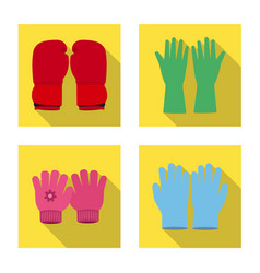 isolated object of glove and winter sign set of vector image