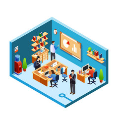 Isometric office room coworking vector