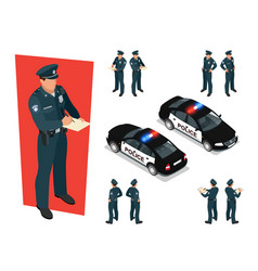 isometric police-officer in uniform and police car vector image