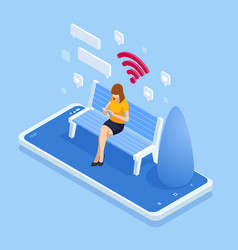 Isometric woman in free internet zone using mobile vector