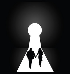 keyhole with couple silhouette vector image