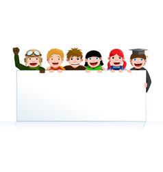 kids holding a poster board vector image